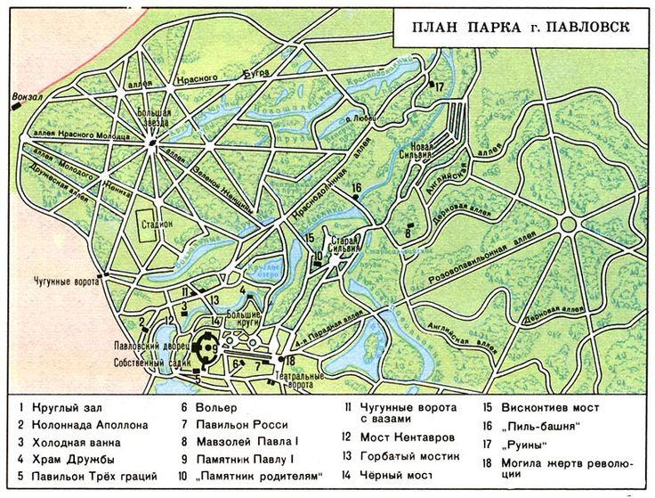Схема парков Павловска