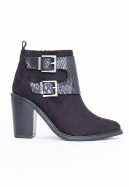 Elle Double Buckle Ankle Boot Black Snake Print