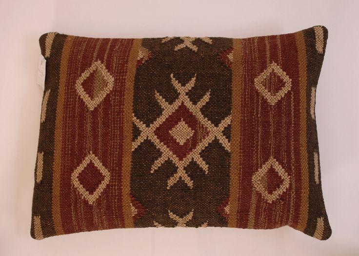 "Kilim India Wool Jute Lumbar Pillow 12""x 20"" - Harrington Galleries"
