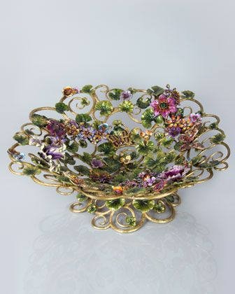 Gorgeous piece of art.  Claudette Floral Butterfly Bowl by Jay Strongwater at Horchow.