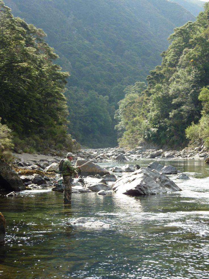 Fishing the Rangitikei which runs through the property