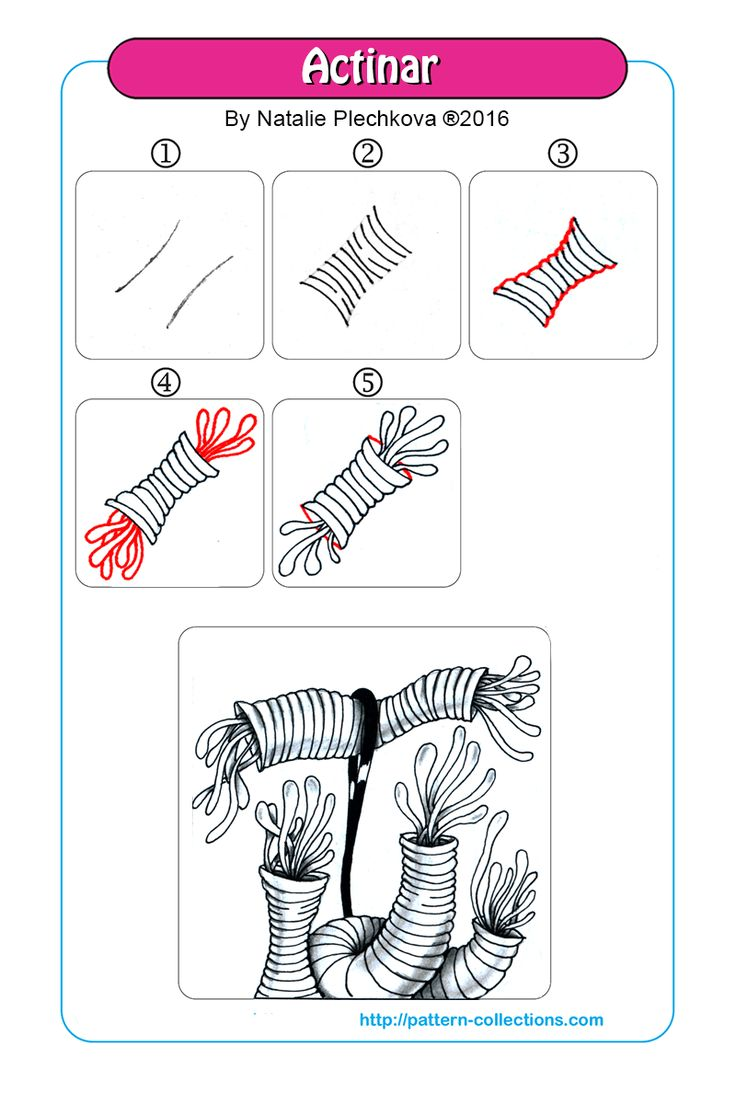 Actinar tangle pattern  by Natalie Plechkova  PatternCollections.com