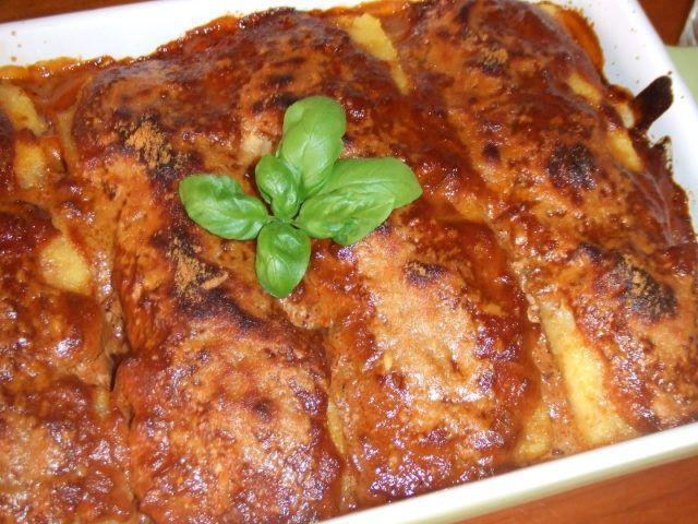 Polenta gratinada con salsa de tomates secos