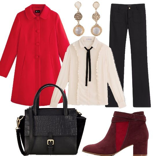 Una cappuccetto rosso rivisitata, dei giorni nostri. Questo cappotto, dal modello a mantella, di color rosso è davvero carino. La camicia bianca con volant e lavalliere a contrasto è davvero alla moda. Abbiniamo pantaloni neri, ampi sul fondo, borsa nera in vera pelle, tronchetti in pelle e tessuto e orecchini in perle e strass, color oro.