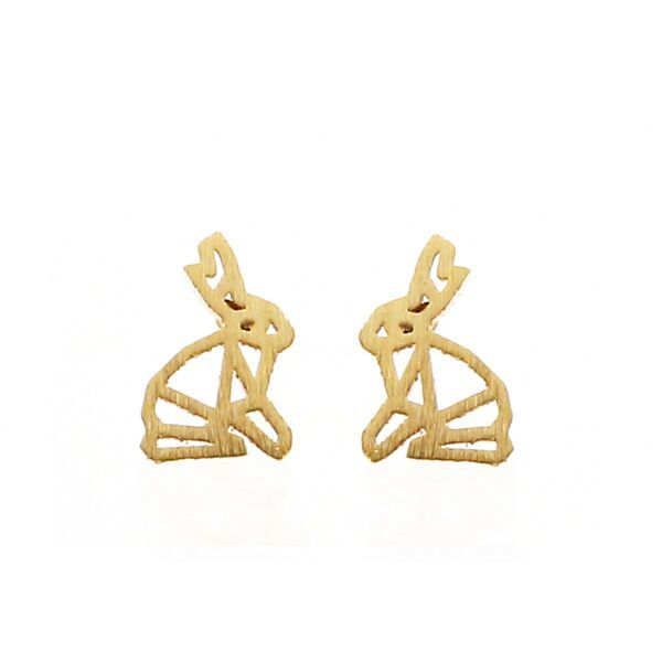 Origami Rabbit Gold Stud Earrings by Pigeonhole. http://aslanandleo.com/product/origami-rabbit-gold-stud-earrings-by-pigeonhole/