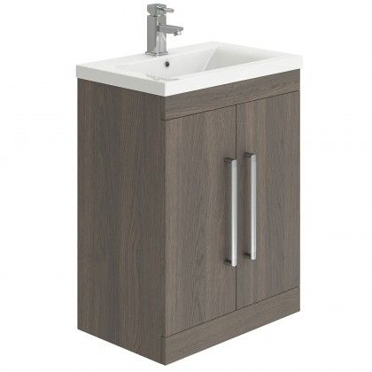 Nante Floor Standing Twin Door Vanity Unit Dark Elm W 515 x H 800 x D 390