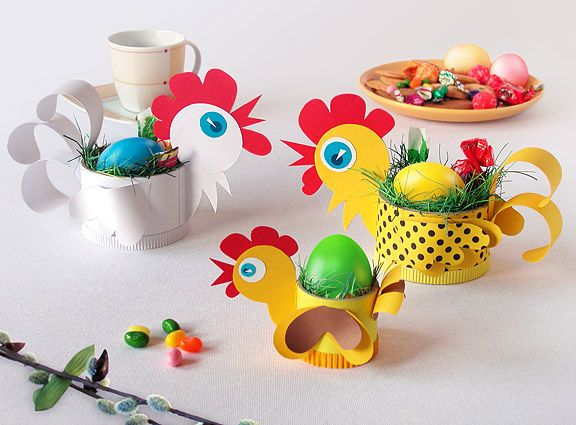 Пасхальные корзинки для яиц в виде курочек