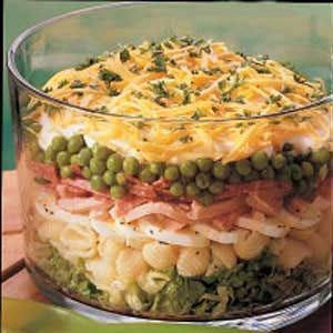 Hearty Eight-Layer Salad. A family favorite! Make sure you use real mayo and not miracle whip or it will totally change the taste of the salad. The addition of the pasta and meats is really good!