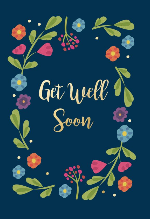 Get well soon, flower card - Free greeting card with every order of Postabloom flowers