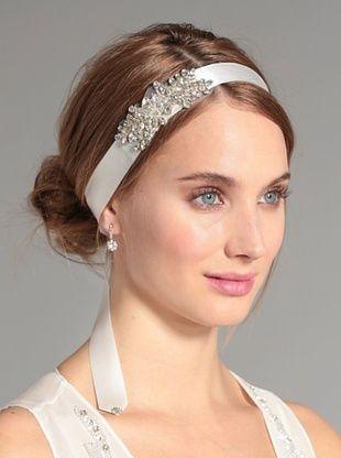 67% OFF Nina Women's Clarisse Beaded Crystal Ribbon Headband, Ivory