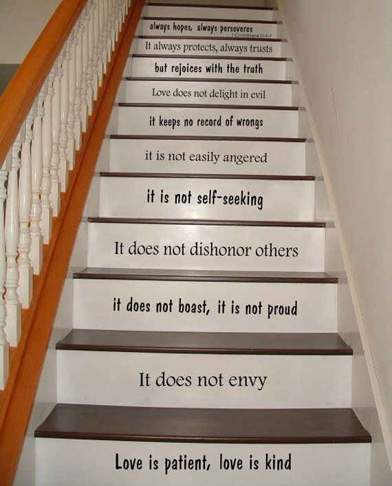 stair decals wall decals quotes love is patient love is kind 1 corinthians 13 staircase quote. Black Bedroom Furniture Sets. Home Design Ideas