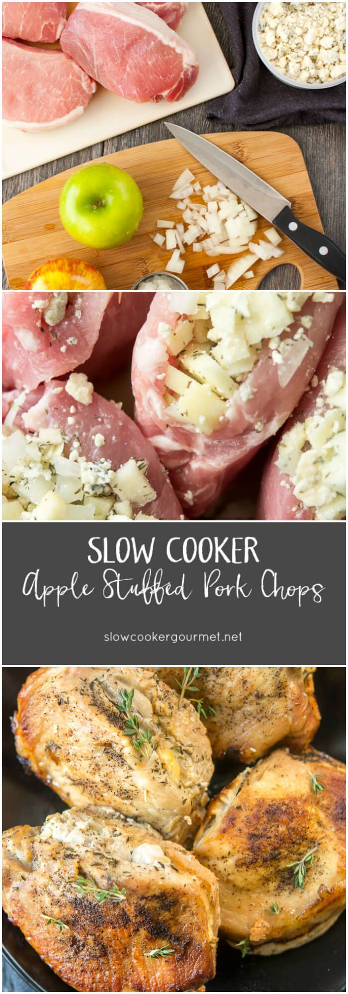 Change up family dinner night with these Slow Cooker Apple Stuffed Pork Chops! Step by step instructions make this recipe simple to follow. A kid favorite!
