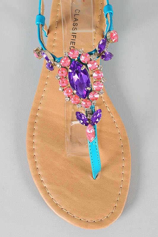 Teal, purple, & pink jeweled sandals!