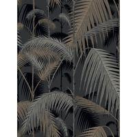 Cole & Son Palm Jungle Wallpaper, Silvers on Black, 95/1004