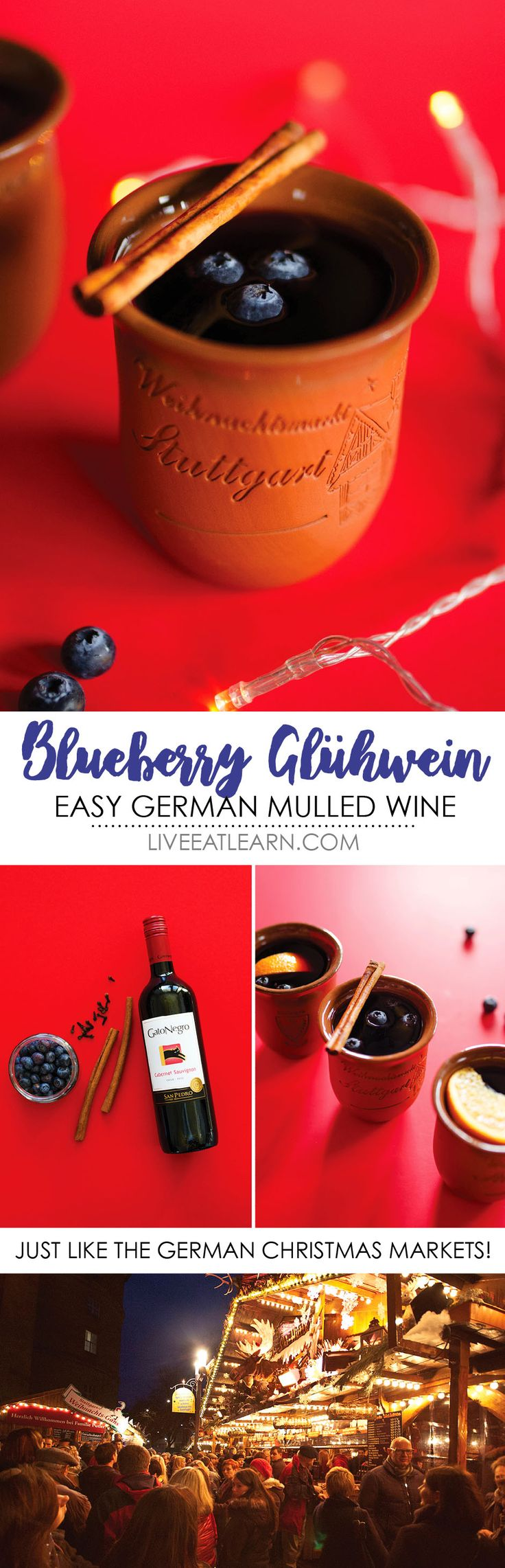 Experience the cozy German Christmas markets without ever leaving the comfort of your home with this Blueberry Gluhwein recipe! With only 5 ingredients, this is a simple alcoholic mulled red wine to warm your bones this winter. And you just need blueberries, cinnamon, and cloves to make this gluten-free, vegan gluehwein! // Live Eat Learn