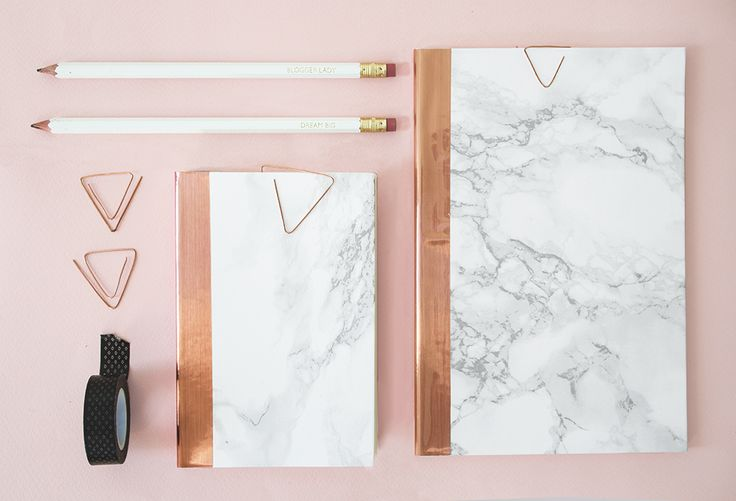 DIY marble and copper stationery 2