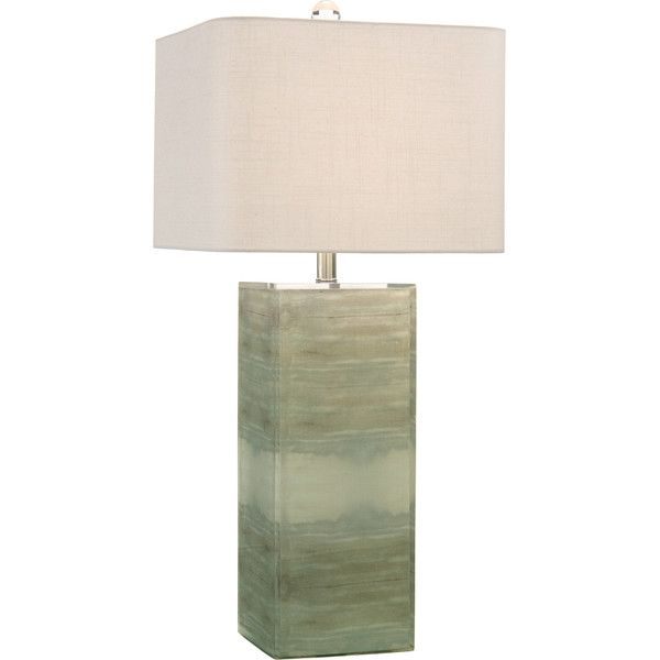 Landsdowne Coastal Modern Rectangular Green Acrylic Table Lamp ($610) ❤  Liked On Polyvore Featuring