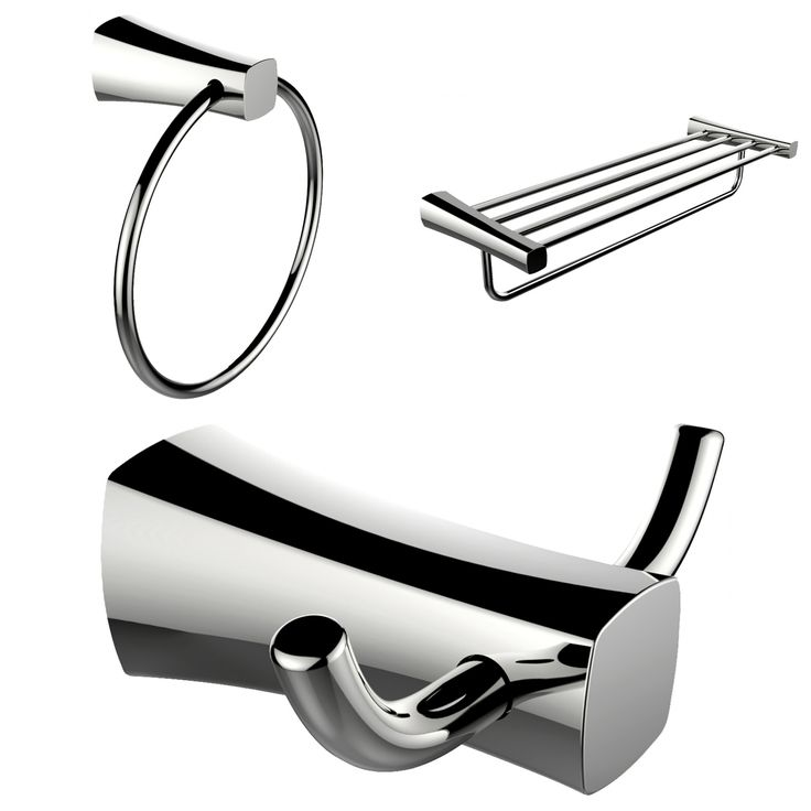 American Imaginations Chrome Plated Towel Ring, Double Robe Hook And A Multi-Rod Towel Rack Accessory Set (Chrome), Silver (Metal)