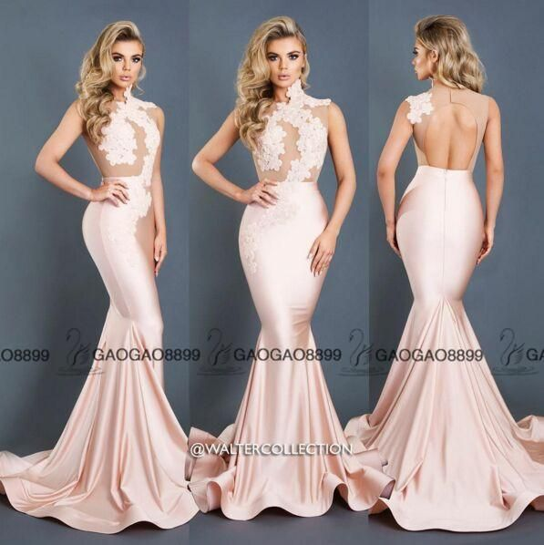 Walter Collection Nude Blush Pink See Through Mermaid Prom Party Dresses 2016 Custom Make Keyhole Back High Neck Occasion Cheap Gown Formal Dresses Online Lace Prom Dresses From Gaogao8899, $102.52| Dhgate.Com