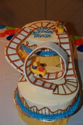 Roller Coaster Cake II:  This was the next birthday cake for my roller coaster obsessed kids. I decided to go big with this one so I made two cakes (just from a box recipe) and