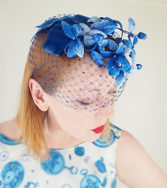 Vintage Blue Velvet Flower Veiled Fascinator Whimsy Hat