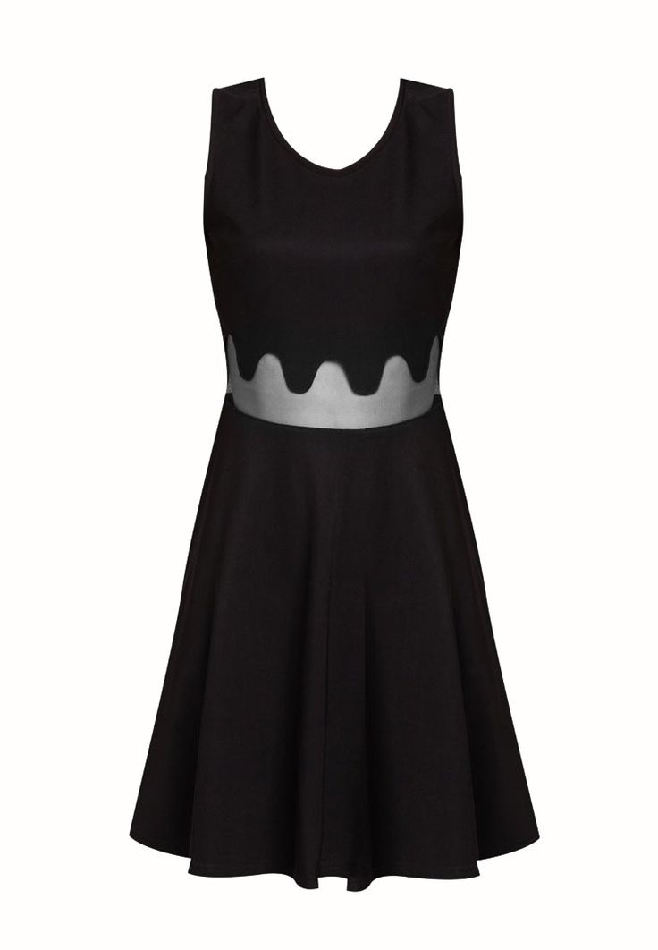 Mesh Waist Dress by something borrowed. Unique dress with dripping sheer details, with v back, round neck, sleeveless, back zipper, unlined, fit and flare. Looking gorgeous with this unique dress. Black dress is a must. http://zocko.it/LDw4i