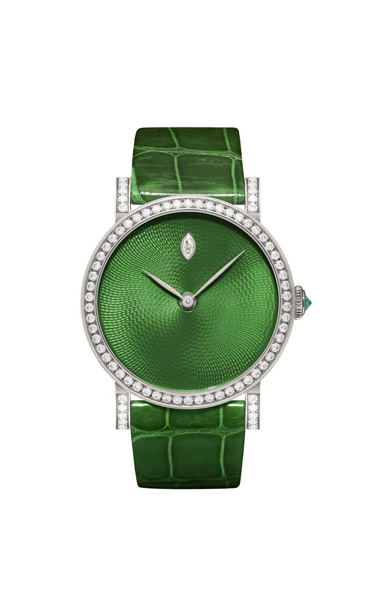 DeLaneau's one-of-a-kind Rondo Translucent Green watch features Grand Feu enamel on a Wave Guilloché dial. The white gold case is set with 78 diamonds, with an emerald-accented crown protecting the automatic movement.