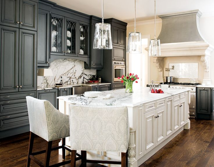 grey kitchen cabinets in beach home, reverse: white cabinets, grey island