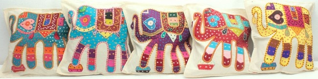 Adorable Applique's - Elephant Cushion Covers with All-Over Kantha Embroidery #applique #elephant_cushions #cushion_covers #kantha
