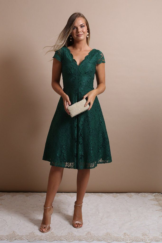 1fb8217a789 Bethany Emerald Green Lace Midi Dress in 2019