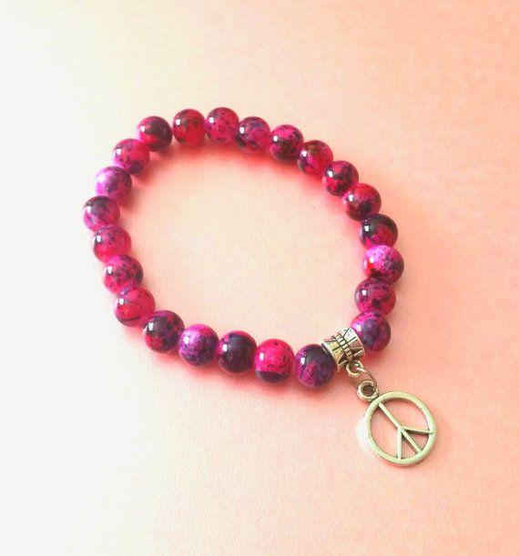 Pink peace bracelet peace sign bracelet by LozziGoodsJewellery