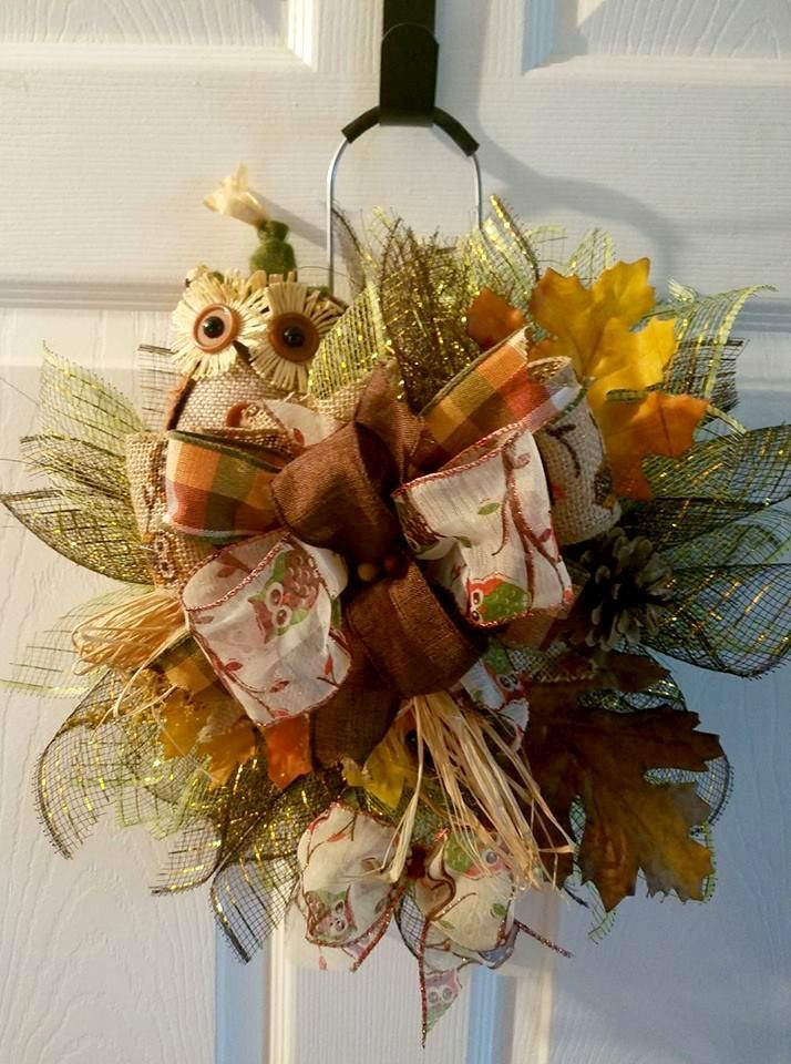 Fall Owl Wreath; Fall Owl Door Hanger; Fall Owl Decor; Thanksgiving Decor; Fall Wreath; fall decorations; fall door decor; Thanksgiving Hostess Gift; Thanksgiving Decor; Fall Door Wreath; Farmhouse Decor; Farmhouse Style; Rustic Decor; Country Fall Decora