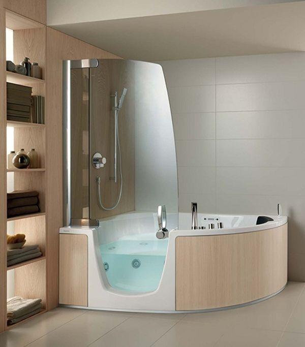 Acryl Wanne-mit integrierter-Dusche Teuco-Eckmodell Eichenholz-Verkleidung