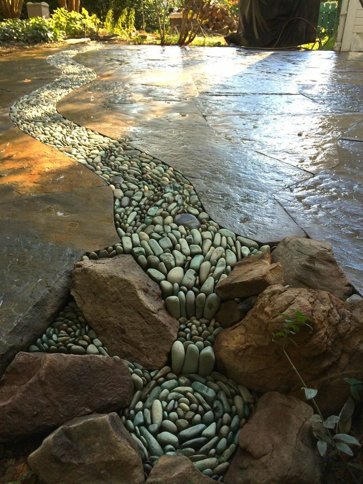 Blended pebble stream and falls Garden & Landscape Home Makeover Project Idea | Pinterest Project Difficulty: Si… | Backyard landscaping, Landscape design, Backyard