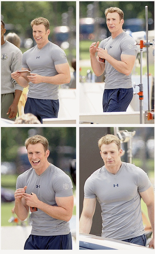 Chris Evans - on the set Captain America: Winter Soldier. Those arms though...... i wanna bite them
