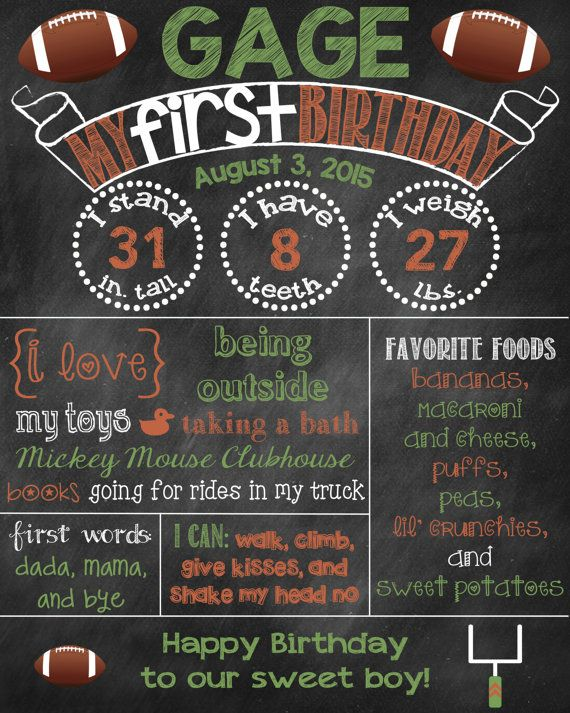 Football Birthday Chalkboard Football First Birthday Poster Chalkboard Poster Football Sports Theme