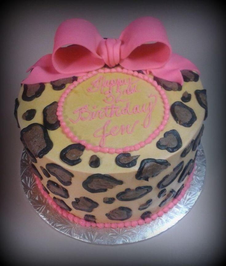 butter cream cake, butter cream cheetah print & fondant bow