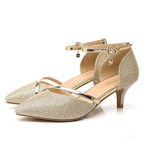 Mujer Zapatos Semicuero Verano Gladiador Sandalias Tacón Stiletto Dedo redondo Lentejuela Dorado / Azul Real / Fiesta y Noche Vg4cPVpXis
