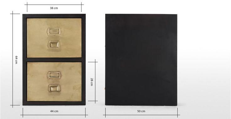Stow, meuble classeur à 2 tiroirs, laiton vintage | made.com