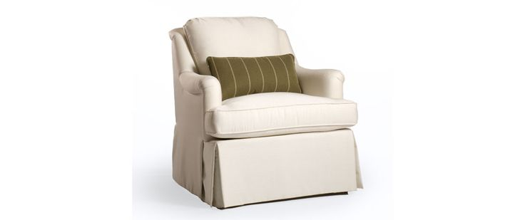 """Nancy Fabric: Uma 09 Includes one kidney pillow 20"""" x 10""""   CHAIR (as shown) Length (overall) 31"""" Length (inside) 22"""" Depth (overall) 36"""" Depth (seat) 21"""" Height (overall) 36"""" Height (arm) 25"""" Height (seat) 20"""""""