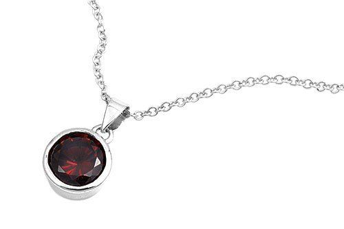 """925 Sterling Silver Round Garnet January Birthstone Pendant Necklace - 16"""" Inches AMEX Jewelry. $19.76. Made of 925 Sterling Silver. Stone: Garnet CZ. Chain Length: 16 inches. Pendant Height: 10 mm. Weight: 3.6 g"""