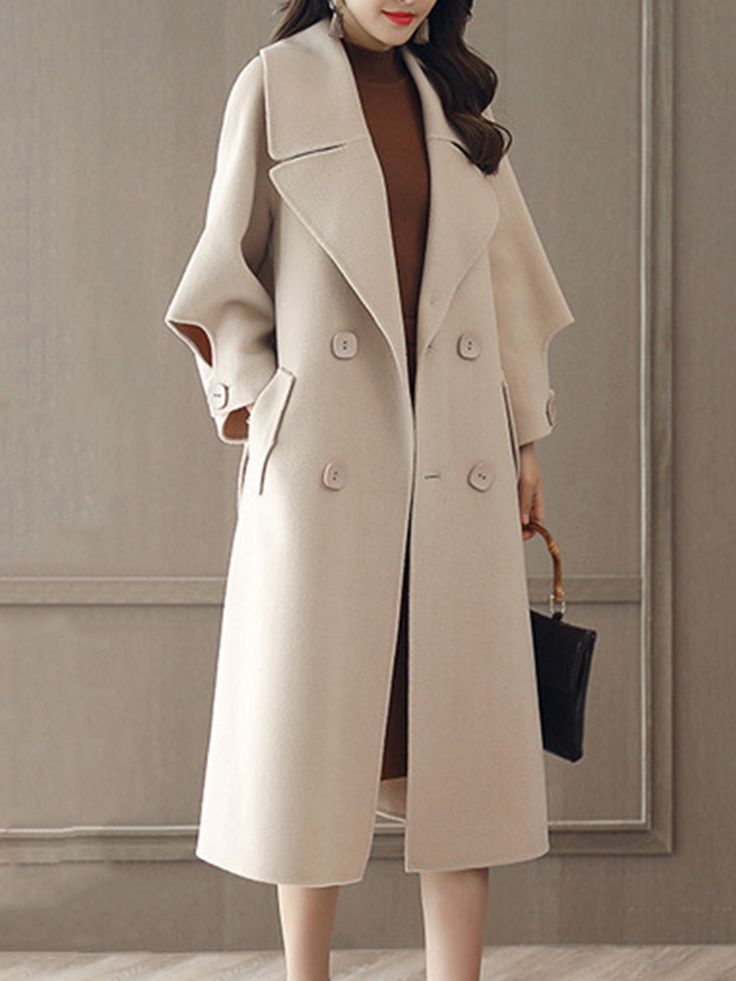 Buy Lapel Double Breasted Belt Plain Longline Woolen Coat online with cheap prices and discover fashion Coats at Fashionmia.com.