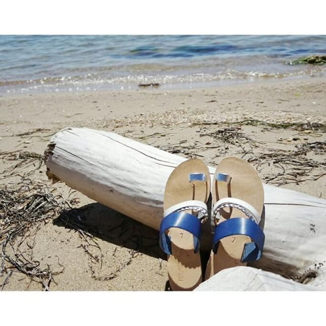 """Vythos"" blue • shop online on www.sandalaki.com  #sandalaki #leathersandals #madeingreece"