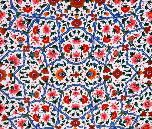 Detail of Islamic art from Golra Sharif in the Punjab of Pakistan (near the capital Islamabad). This is classic Islamic abstract work.