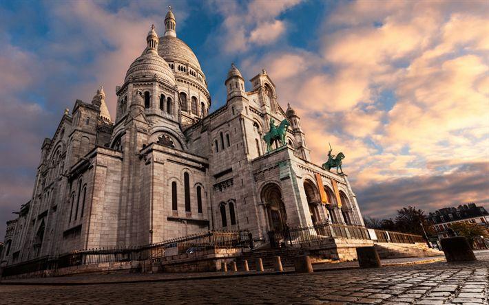 Download wallpapers Basilica of the Sacred Heart, Paris, Roman Catholic church, Montmartre, France, attractions, Paris landmarks