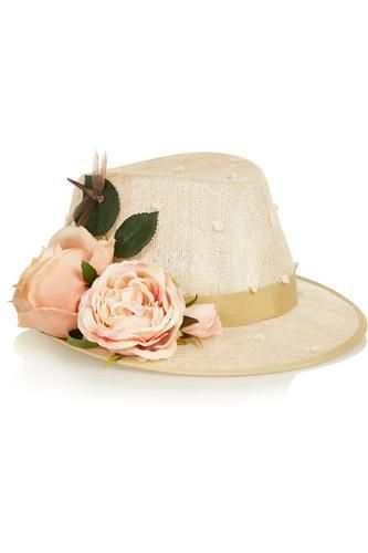 Flower-embellished sinamay trilby #accessories #covetme #piersatkinson