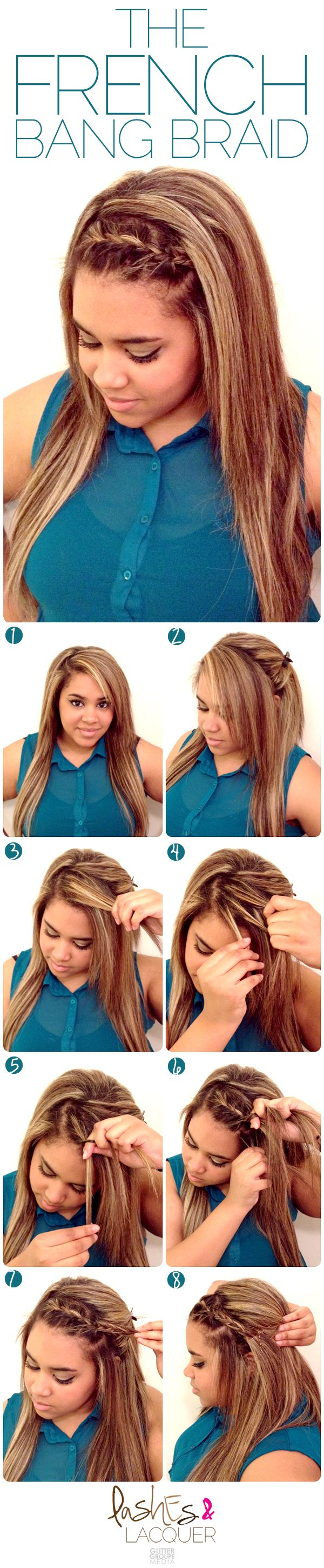 The French Braid Bang...this is so cute, too bad i can never do it right. lol