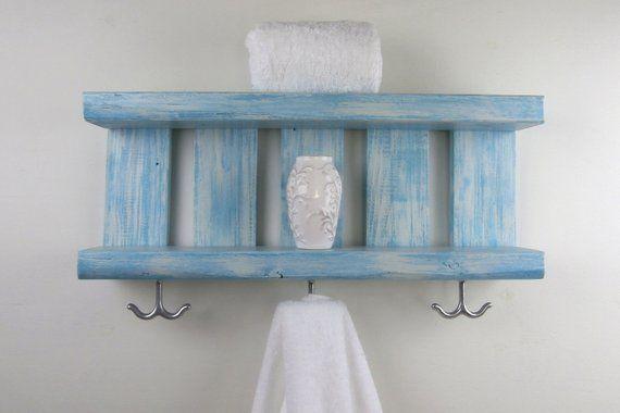 Bathroom Shelf Wood Shelves With Hooks Underneath Coastal Decor Open Shelves Bathroom Chunky Wall Wood Shelves Reclaimed Wood Shelves Pallet Wood Shelves
