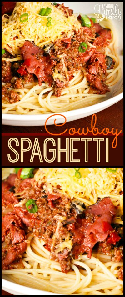 I'm not going to lie.. this stuff is amazing. It is so flavorful and meaty! If you've never had Cowboy Spaghetti, you MUST try this recipe! via @favfamilyrecipz
