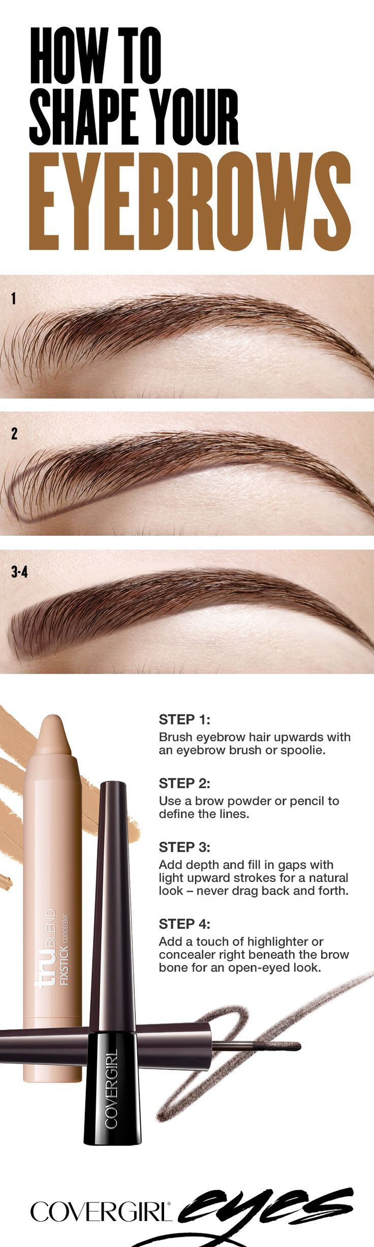 A bold eyebrow isn't only on trend, it automatically helps you look more pulled together &  it's easy to do! STEP 1: Brush eyebrow hair upwards with an eyebrow brush or spoolie. STEP 2: Use a brow powder or pencil to define the lines. STEP 3: Add depth and fill in gaps with light upward strokes for a natural look; never drag back and forth. STEP 4: Add a touch of highlighter or concealer right beneath the brow bone for an open-eyed look.
